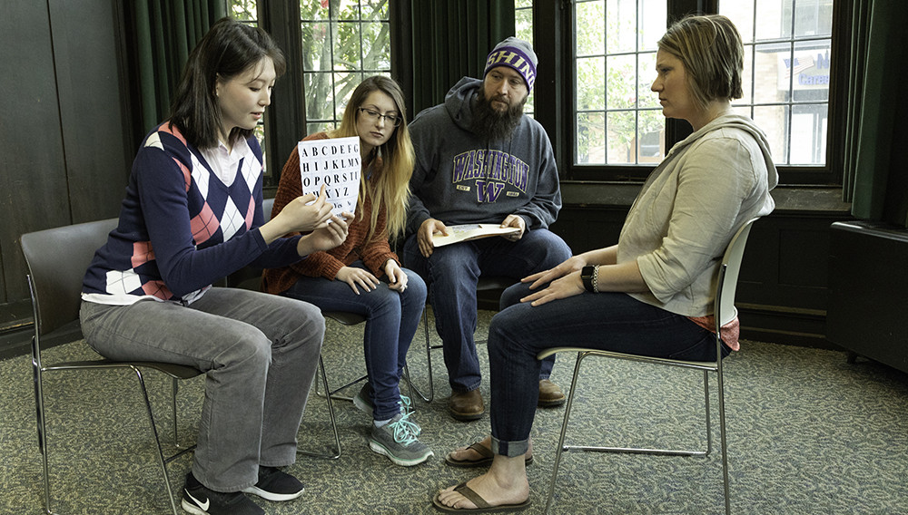 During the training, medical students participate in several role-playing scenarios, with Speech and Hearing Sciences students in the role of patients with communication disorders.
